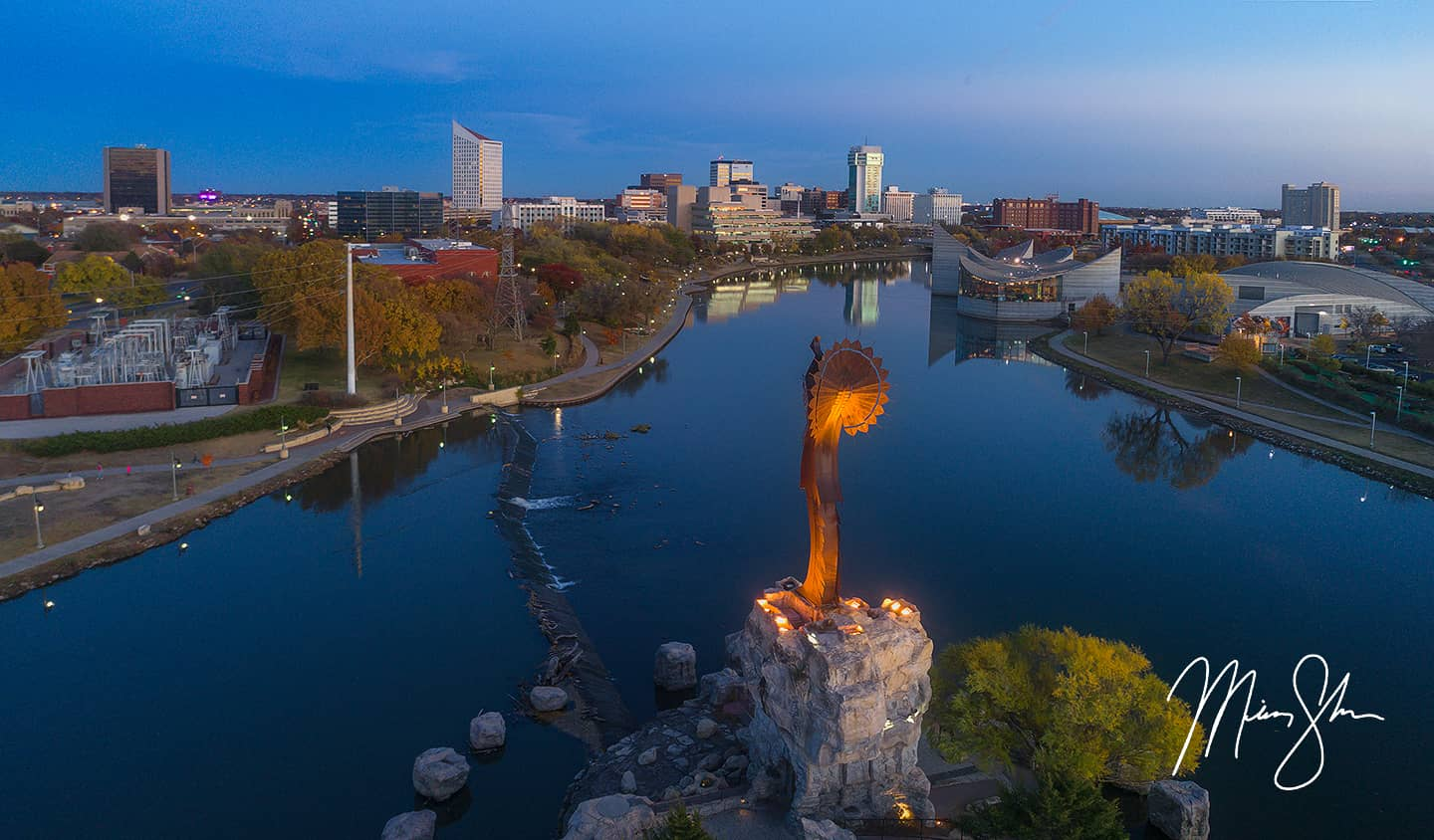 Aerial Autumn Sunset Over Wichita | The Keeper of the ...