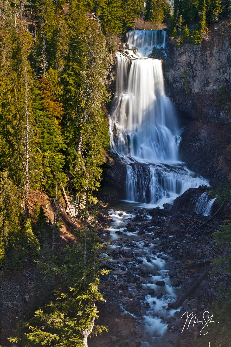 Open edition fine art print of Alexander Falls from Mickey Shannon Photography. Location: Alexander Falls, Callaghan Valley, British Columbia, Canada