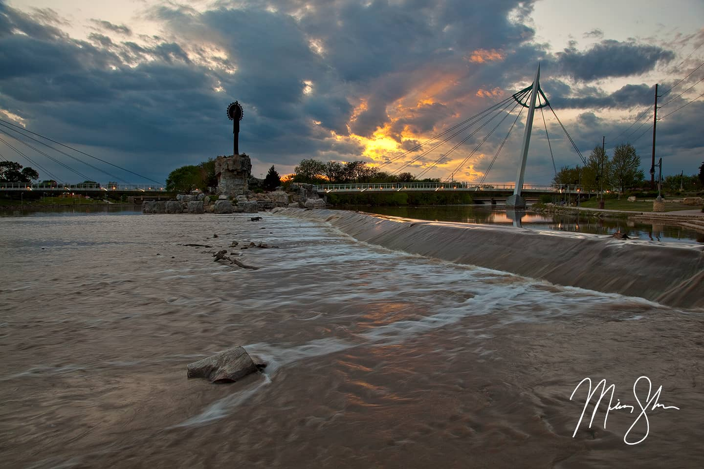Open edition fine art print of Arkansas River Sunset from Mickey Shannon Photography. Location: Keeper of the Plains, Arkansas River, Wichita, Kansas