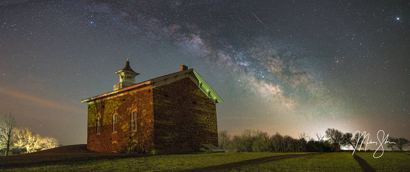 Open edition fine art print of Arvonia Church Milky Way from Mickey Shannon Photography. Location: Arvonia, Kansas