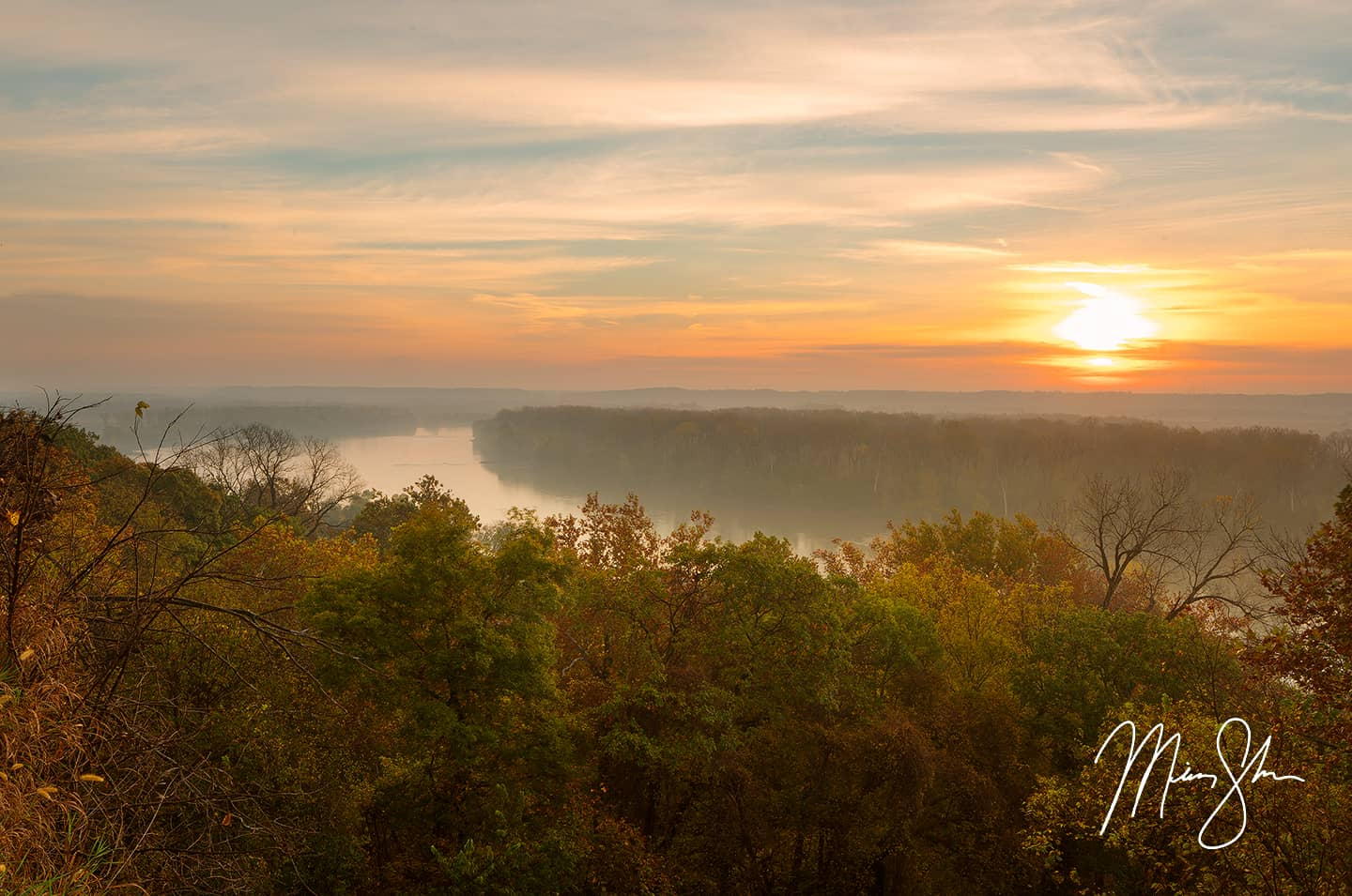 Open edition fine art print of Atchison Autumn Sunrise from Mickey Shannon Photography. Location: Atchison, KS