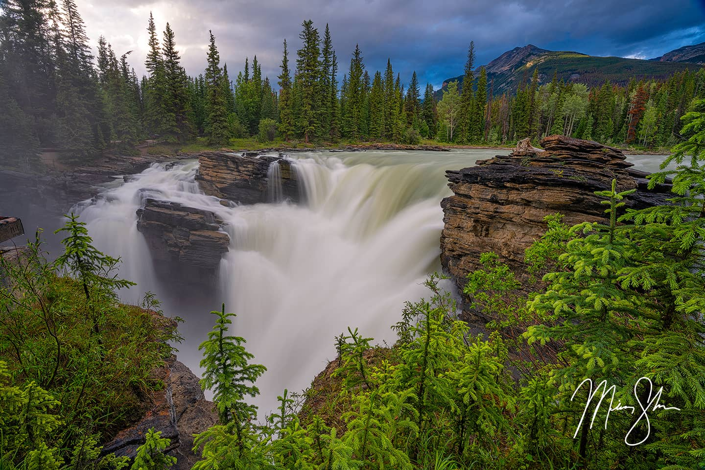 Open edition fine art print of Athabasca Falls in Jasper National Park