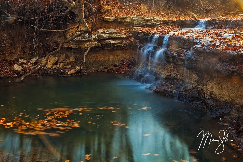 Autumn at Chase Lake Falls - Chase State Fishing Lake, Kansas