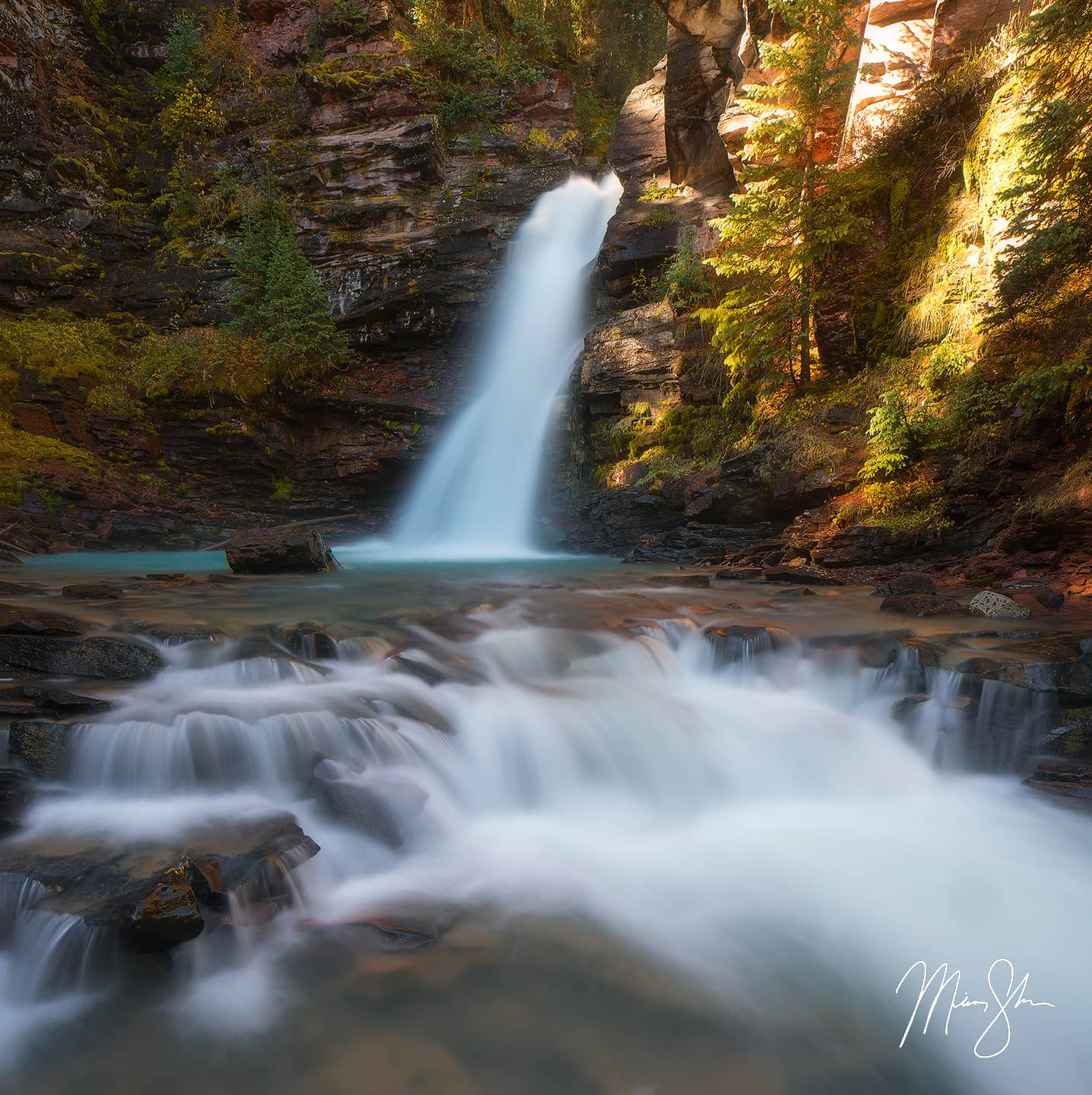 Open edition fine art print of Autumn at South Fork Mineral Creek Falls from Mickey Shannon Photography. Location: Near Silverton, Colorado
