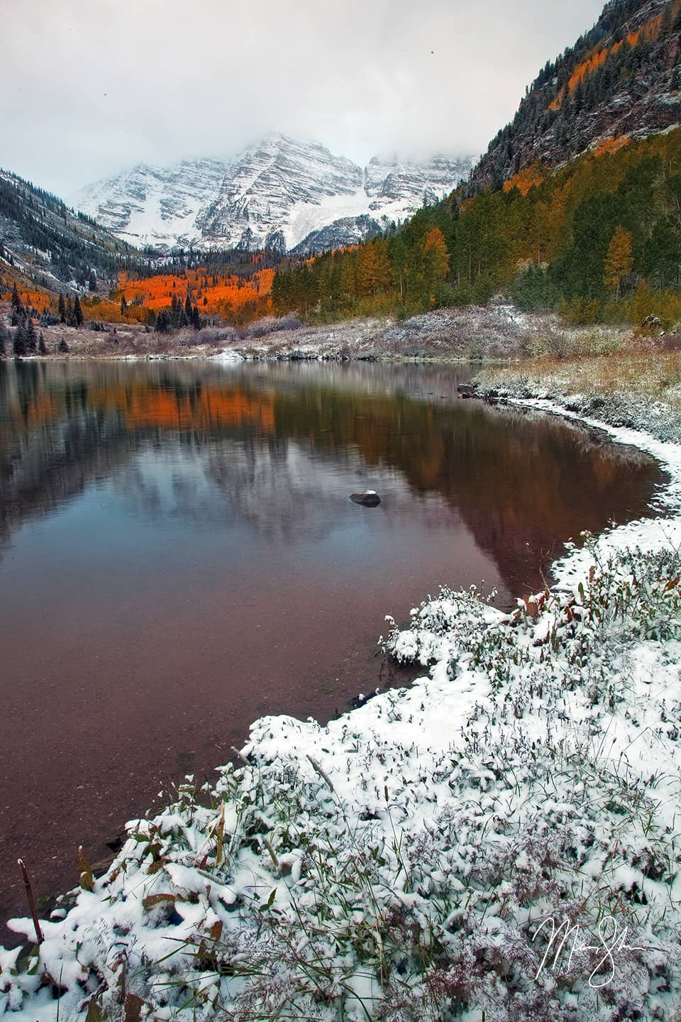 Open edition fine art print of Autumn Snow at the Maroon Bells from Mickey Shannon Photography. Location: Maroon Bells, Aspen, Colorado