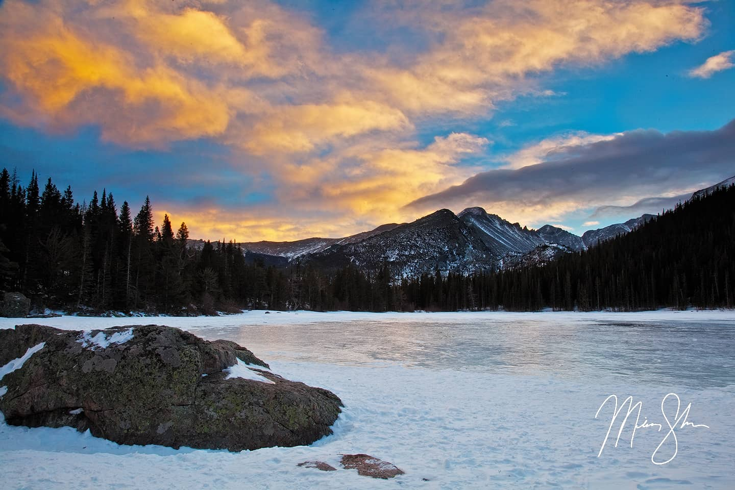Bear Lake Winter Sunset - Bear Lake, Rocky Mountain National Park, Colorado