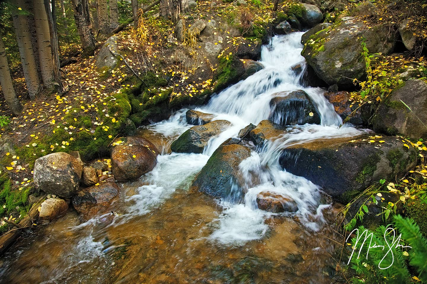 Boulder Brook Autumn Waterfalls - Boulder Brook, Rocky Mountain National Park, Estes Park, Colorado