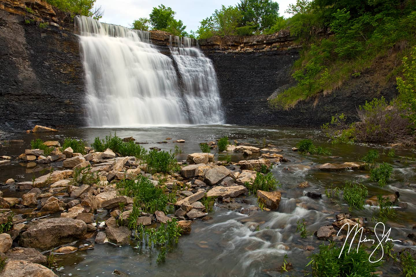 Open edition fine art print of Bourbon Falls from Mickey Shannon Photography. Location: Bourbon Falls, Bourbon State Fishing Lake, Kansas