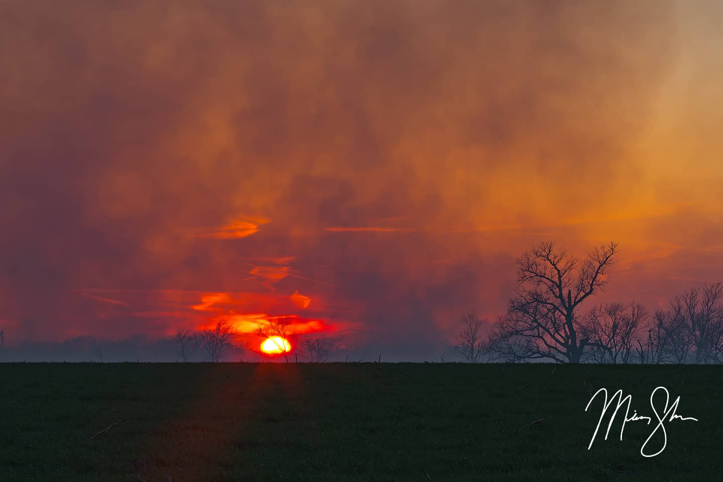 Burning Flint Hills Sunset - East of Marion, Kansas