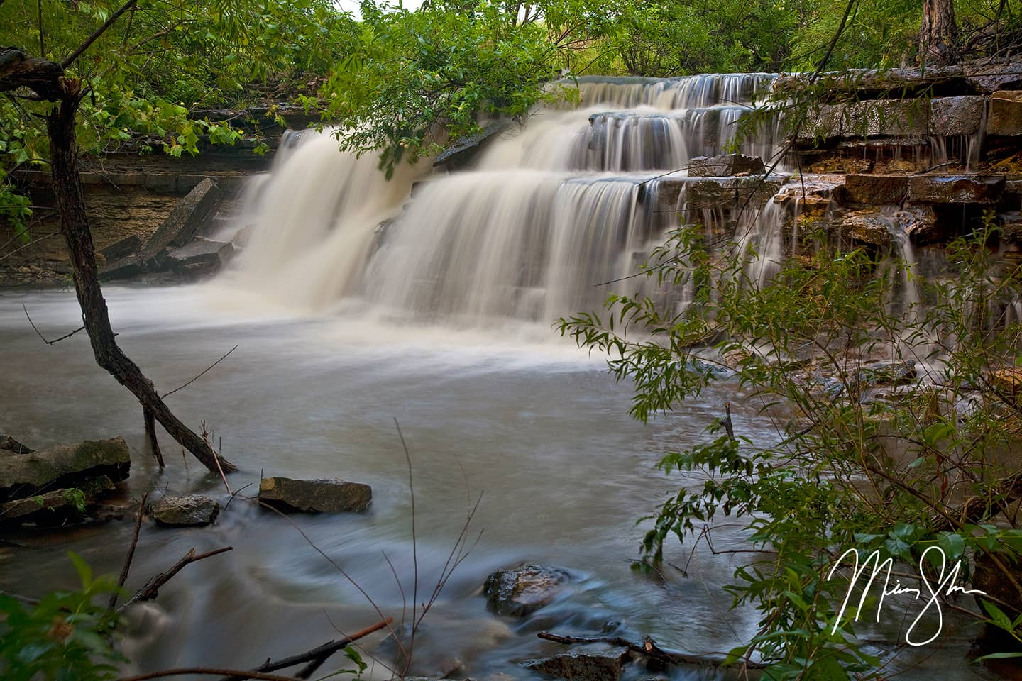 Open edition fine art print of Butler Falls from Mickey Shannon Photography. Location: Butler State Fishing Lake, Kansas