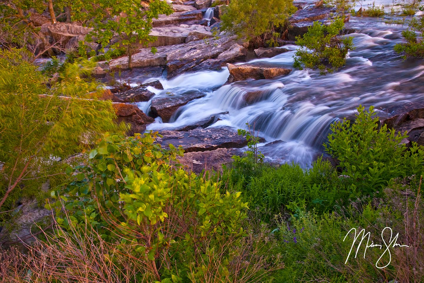 Open edition fine art print of Cascades at Lake Kahola from Mickey Shannon Photography. Location: Lake Kahola, Kansas