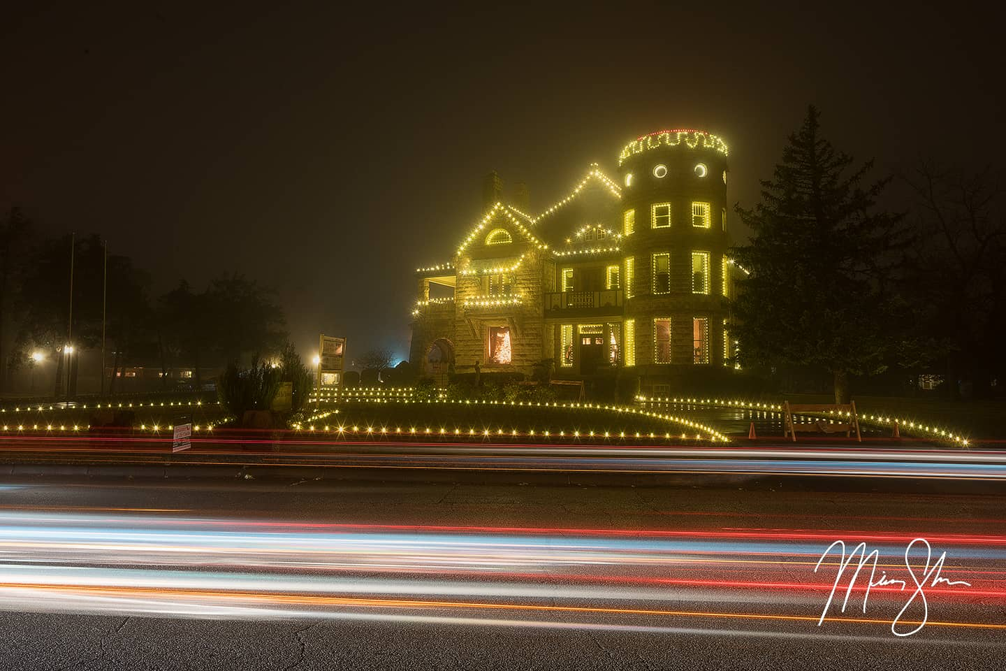 Open edition fine art print of Christmas at the Castle Inn Riverside from Mickey Shannon Photography. Location: Wichita, Kansas