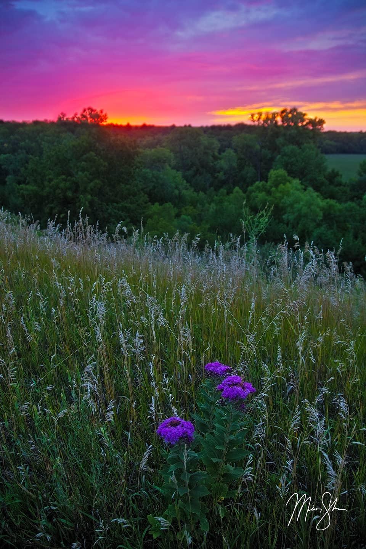 Colorful Kansas Sunset Geary State Fishing Lake Near