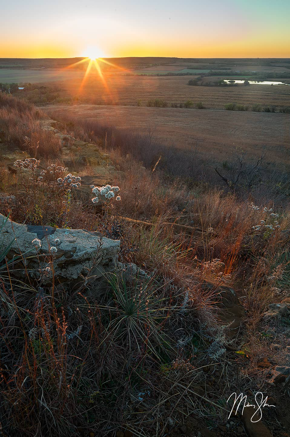 Open edition fine art print of Coronado Heights Sunset from Mickey Shannon Photography. Location: Coronado Heights, KS