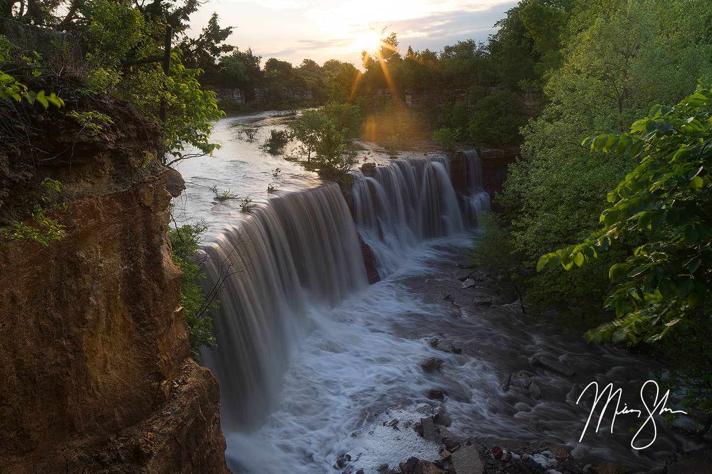 Open edition fine art print of Cowley Falls Sunrise from Mickey Shannon Photography. Location: Cowley Falls, Arkansas City, Kansas