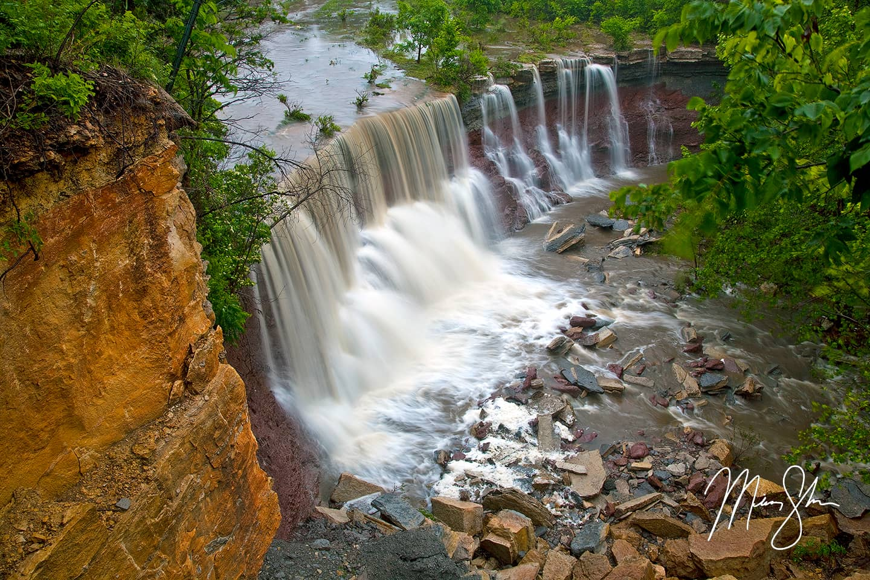 Cowley Falls - Cowley State Fishing Lake Waterfall, Kansas