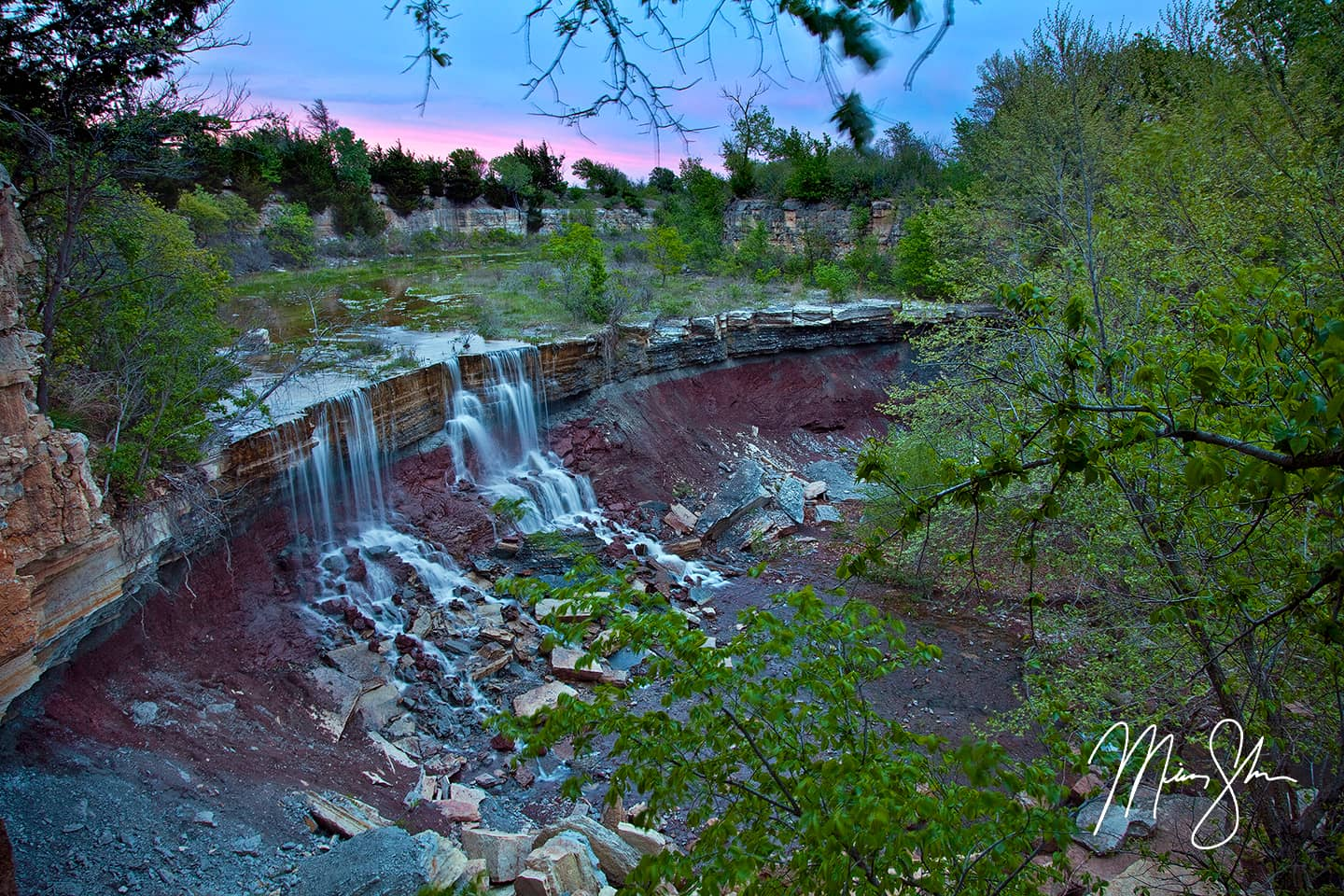 Cowley Lake Waterfall Sunset - Cowley State Fishing Lake, Kansas