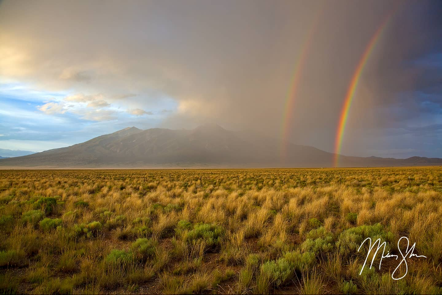 Open edition fine art print of Double Rainbow Over Blanca Peak from Mickey Shannon Photography. Location: Near Blanca, Colorado