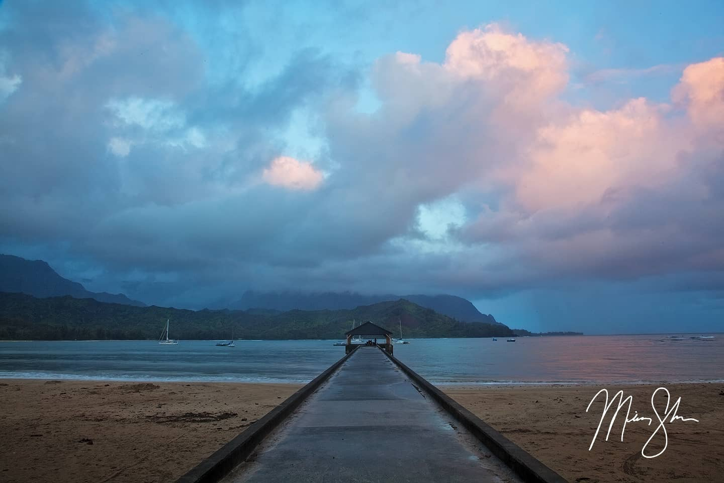 Down the Pier at Hanalei Bay
