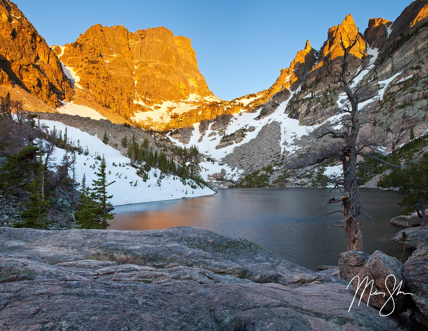 Open edition fine art print of Emerald Lake Alpineglow from Mickey Shannon Photography. Location: Emerald Lake, Estes Park, Rocky Mountain National Park, Colorado