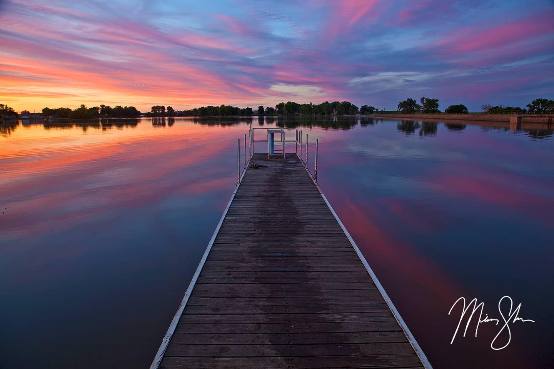 Eureka City Lake Pier Sunset - Eureka City Lake, Kansas