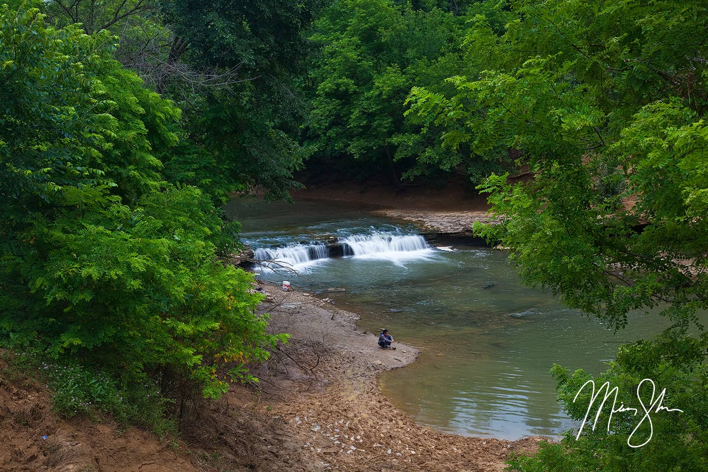 Fishing at Wakarusa River Falls