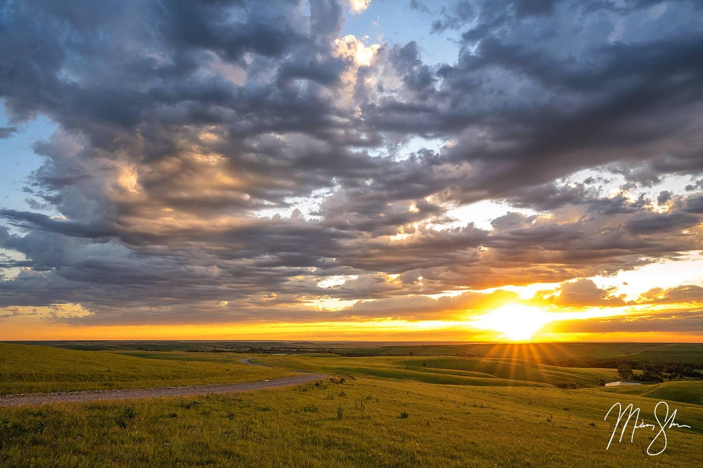 Flint Hills Summer Sunrise - Flint Hills, Southeast of Cassoday, Kansas