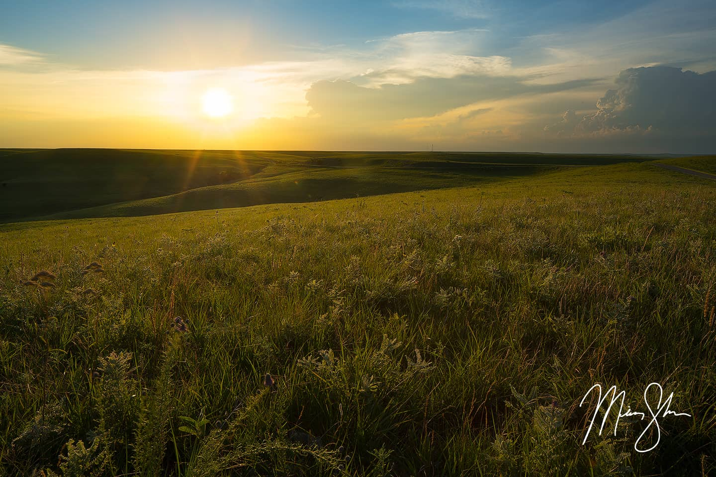 Open edition fine art print of Flint Hills Sunset Warmth from Mickey Shannon Photography. Location: Texaco Hill, The Flint Hills, Kansas