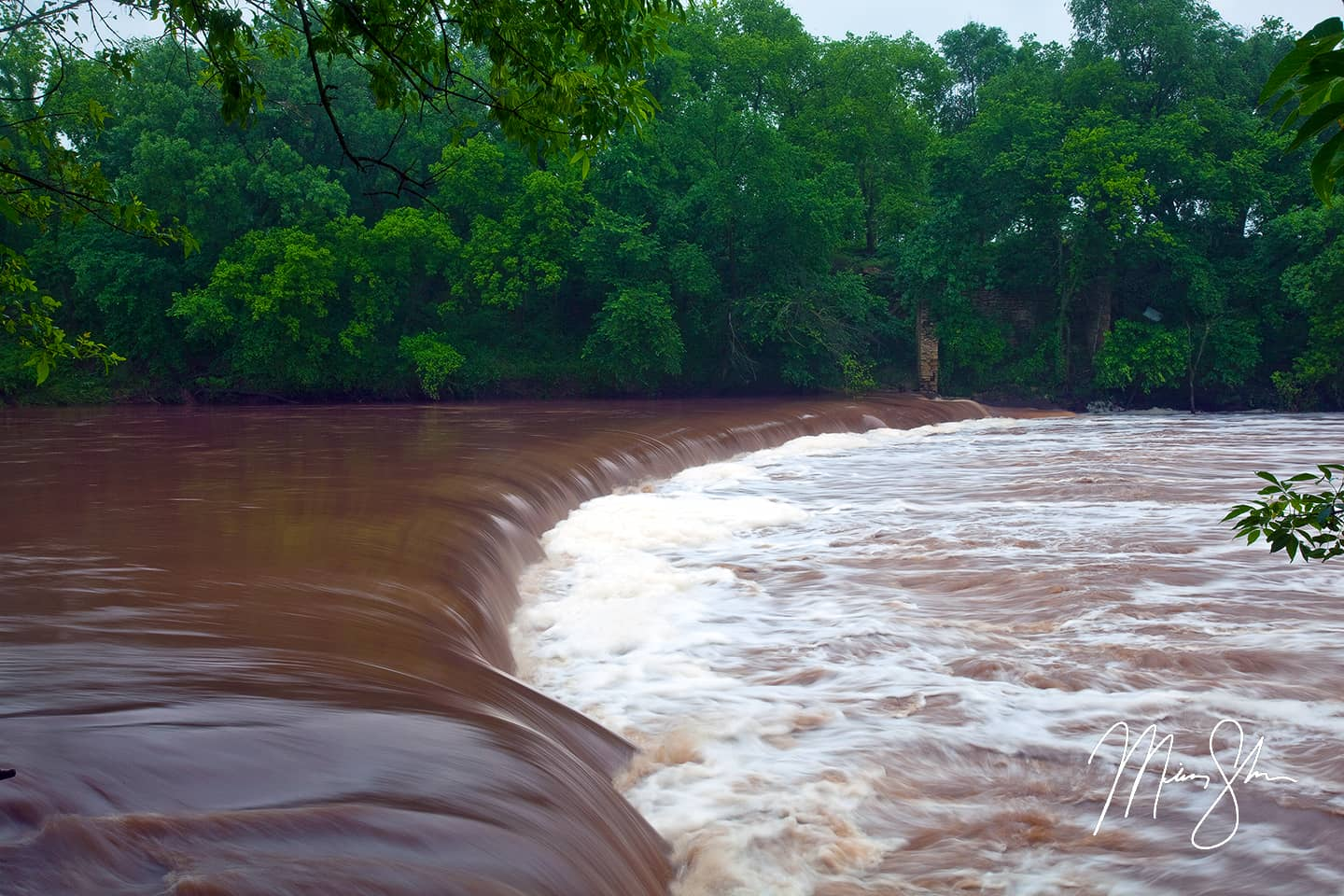Open edition fine art print of Flooded Drury Dam Waterfall from Mickey Shannon Photography. Location: Drury Park, Drury, Kansas