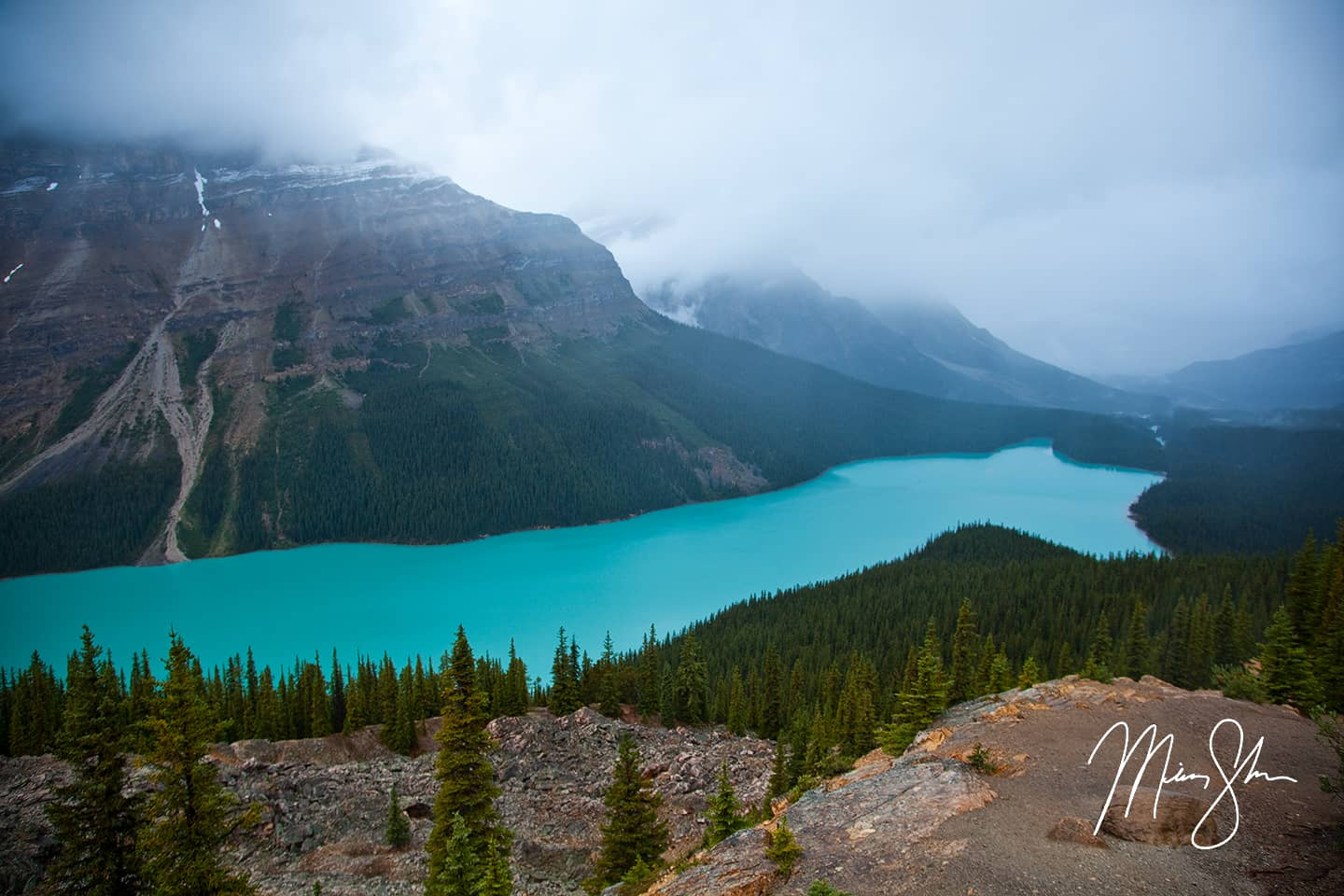 Open edition fine art print of Foggy Peyto Lake Classic from Mickey Shannon Photography. Location: Peyto Lake, Icefields Parkway, Banff National Park, Alberta, Canada