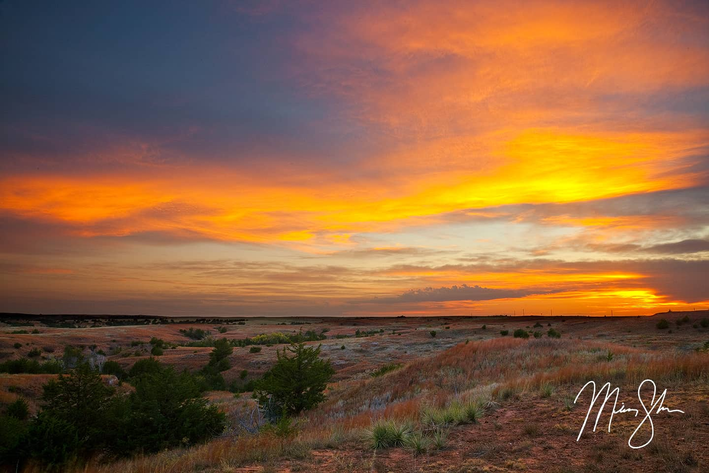 Open edition fine art print of Gypsum Hills Sunset from Mickey Shannon Photography. Location: Gypsum Hills, Kansas