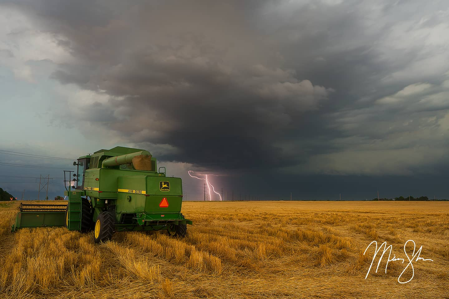 Open edition fine art print of Harvest Lightning from Mickey Shannon Photography. Location: Wichita, KS