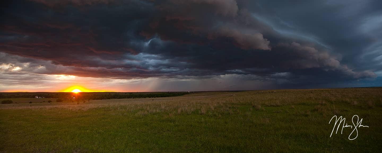 Kansas Storm and Sunset Panorama - Near Minneapolis, Kansas