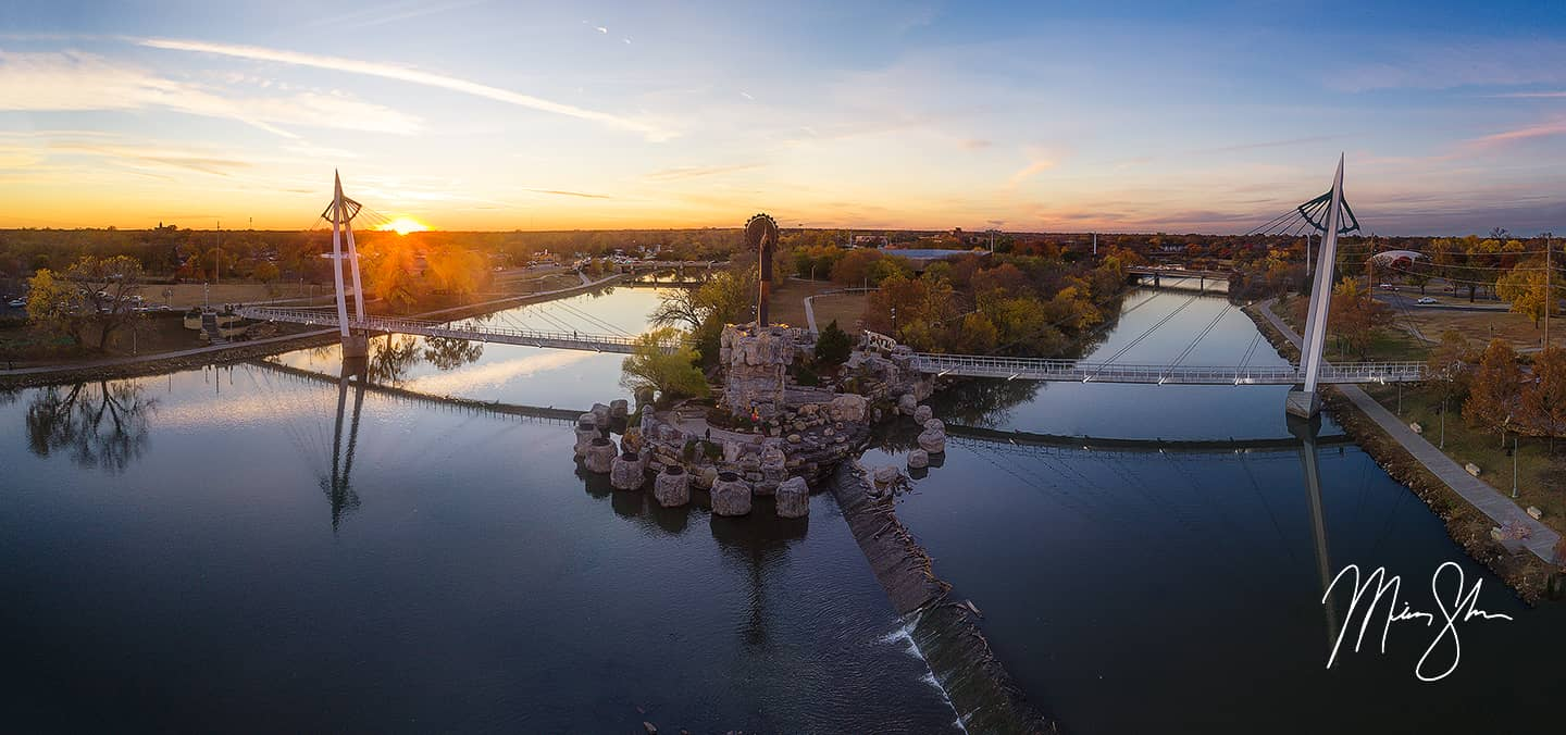 Open edition fine art print of Keeper of the Plains Aerial Autumn Sunset from Mickey Shannon Photography. Location: The Keeper of the Plains, Wichita, Kansas