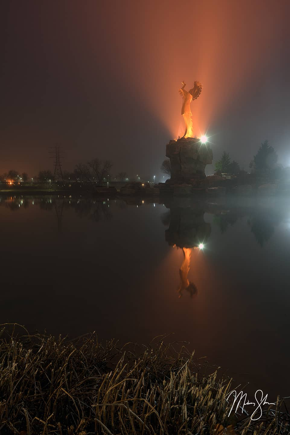 Open edition fine art print of Keeper of the Plains Foggy Reflection from Mickey Shannon Photography. Location: Wichita, Kansas
