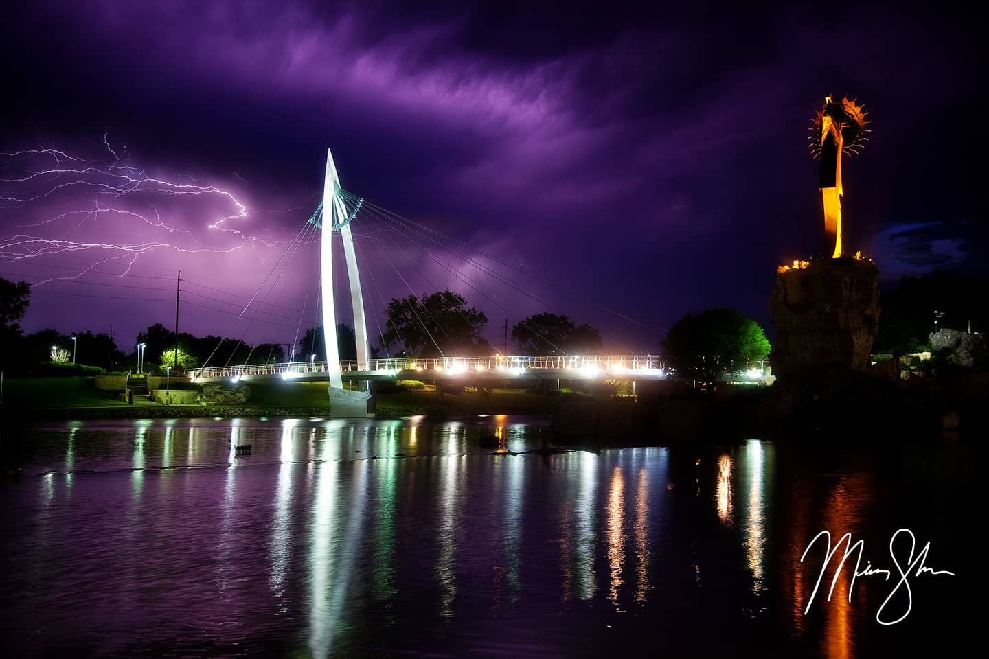 Open edition fine art print of Keeper of the Plains Lightning from Mickey Shannon Photography. Location: Wichita, Kansas
