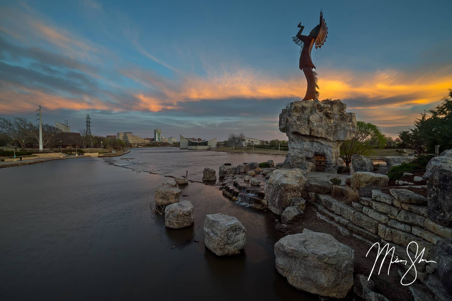 Open edition fine art print of Keeper of the Plains Spring Sunset from Mickey Shannon Photography. Location: Keeper of the Plains, Wichita, Kansas