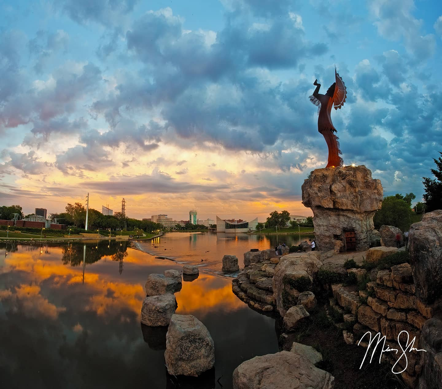 Keeper of the Plains Stormy Sunset - Wichita, Kansas