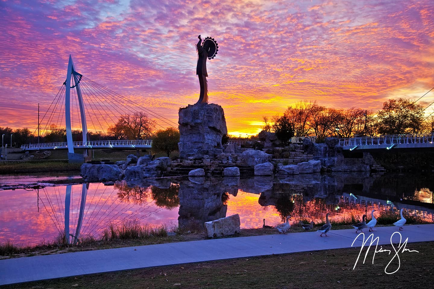 Keeper Of The Plains Sunset Wichita Kansas Mickey Shannon