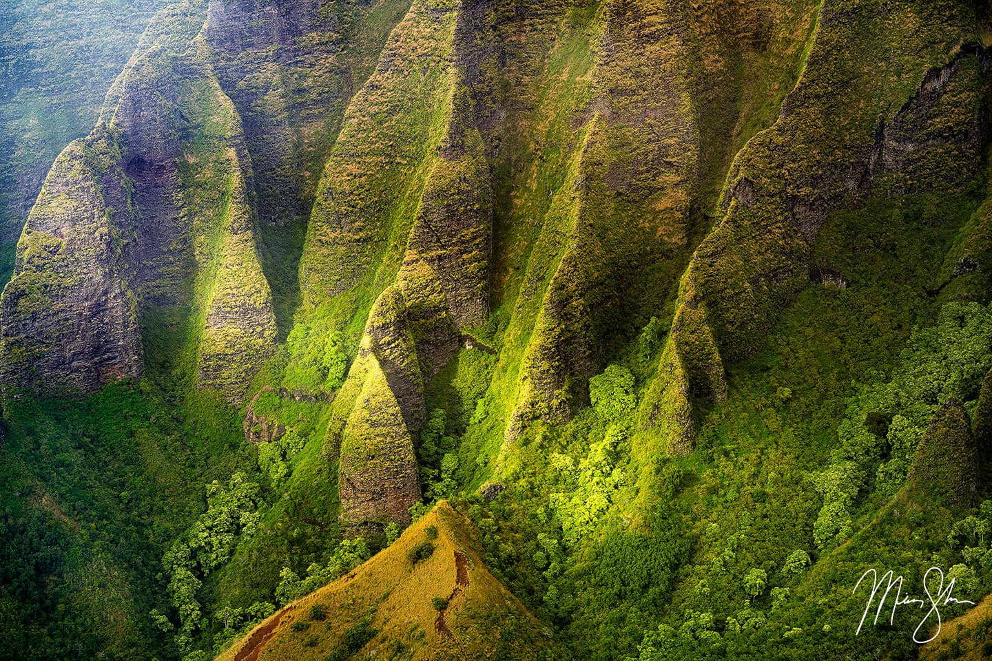 Lights on the Cliffs of the Napali Coast - Kalalau Valley Lookout, Kokee State Park, Kauai, Hawaii