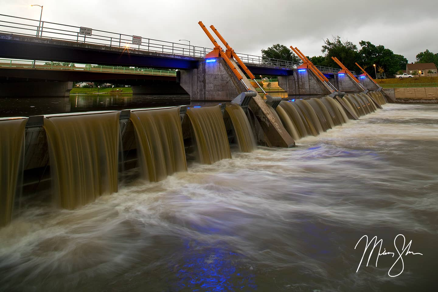 Open edition fine art print of Lincoln Street Bridge Falls from Mickey Shannon Photography. Location: Wichita, Kansas