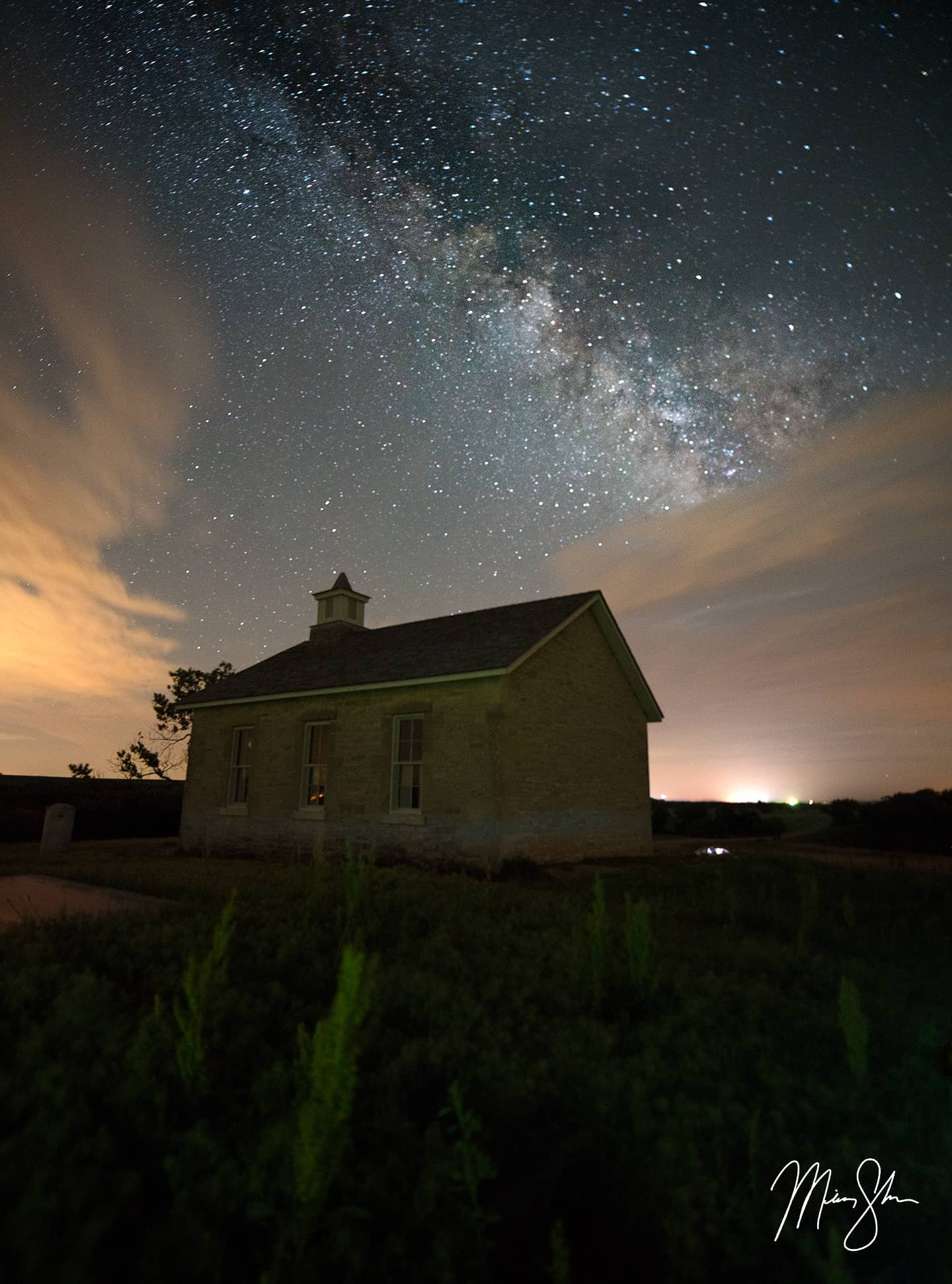 Open edition fine art print of Lower Fox Creek Schoolhouse Milky Way from Mickey Shannon Photography. Location: Lower Fox Creek Schoolhouse, Tallgrass Prairie National Preserve, Kansas