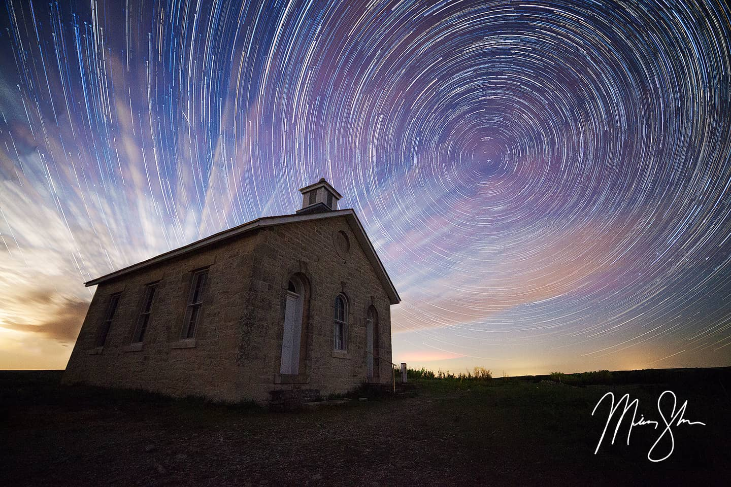 Lower Fox Creek Schoolhouse Startrails - Lower Fox Creek Schoolhouse, Tallgrass Prairie National Preserve, Kansas