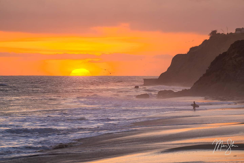 Malibu Sunset Surfer - Leo Carrillo State Beach, Malibu, California