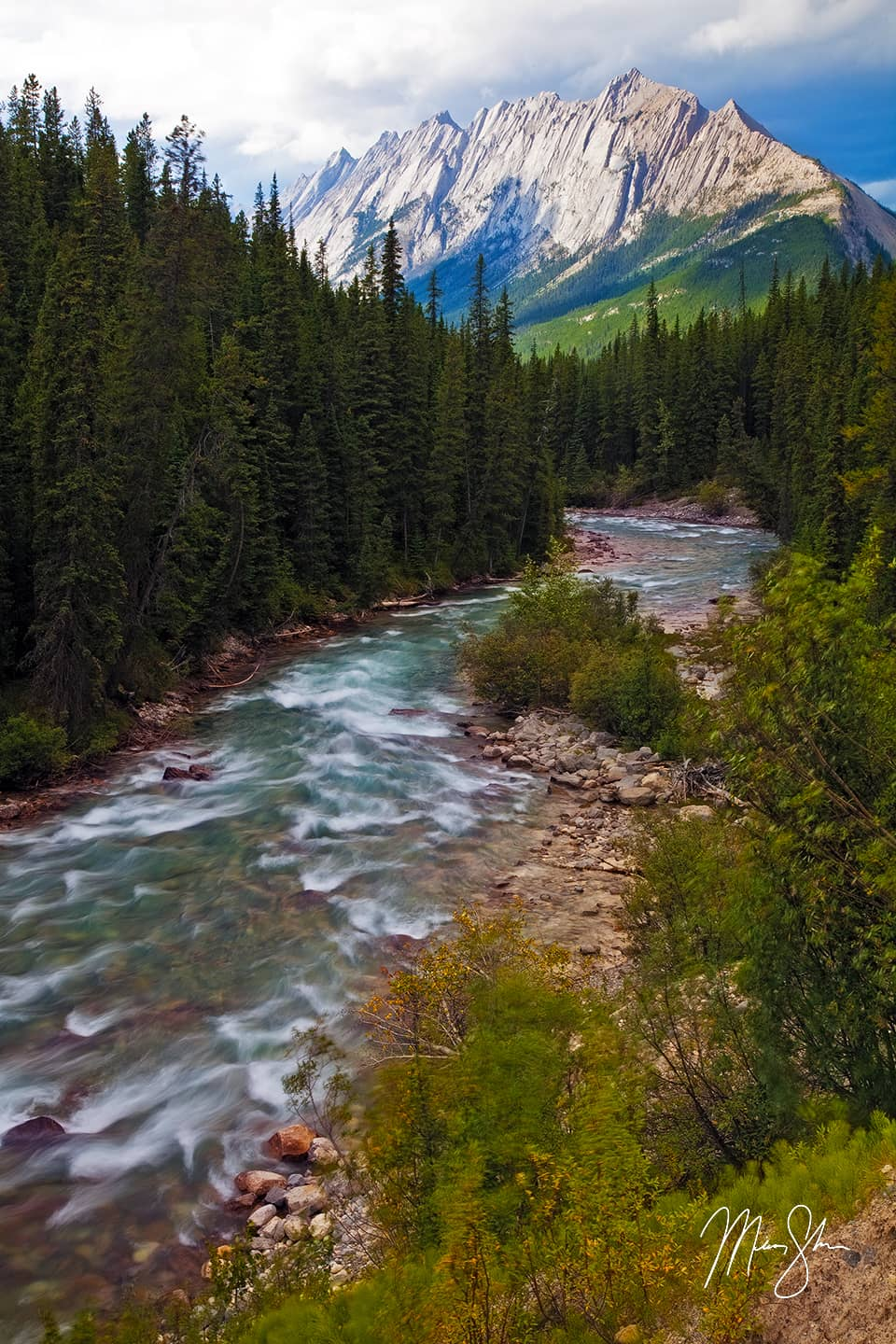Maligne River Mountains