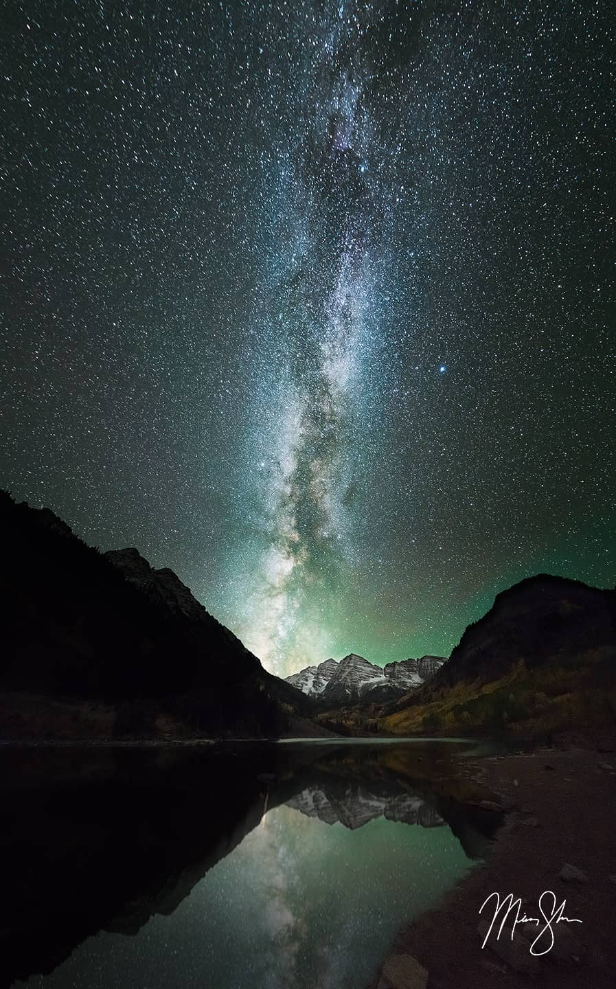 Open edition fine art print of Maroon Bells Milky Way from Mickey Shannon Photography. Location: Maroon Lake, Maroon Bells, Aspen, Colorado