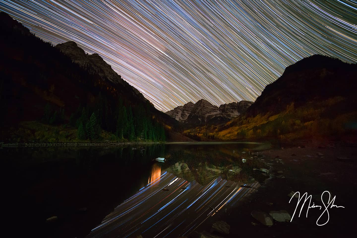 Open edition fine art print of Maroon Bells Star Trails from Mickey Shannon Photography. Location: Maroon Bells, Aspen, Colorado