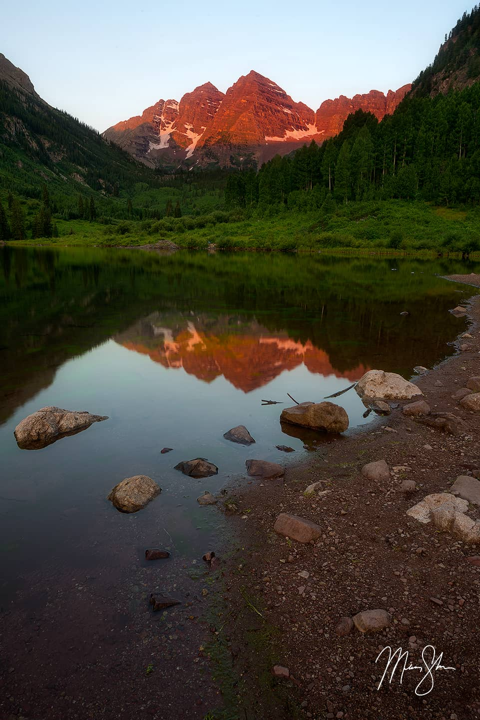 Open edition fine art print of Maroon Bells Summer Sunrise Reflection from Mickey Shannon Photography. Location: Maroon Lake, Aspen, Colorado