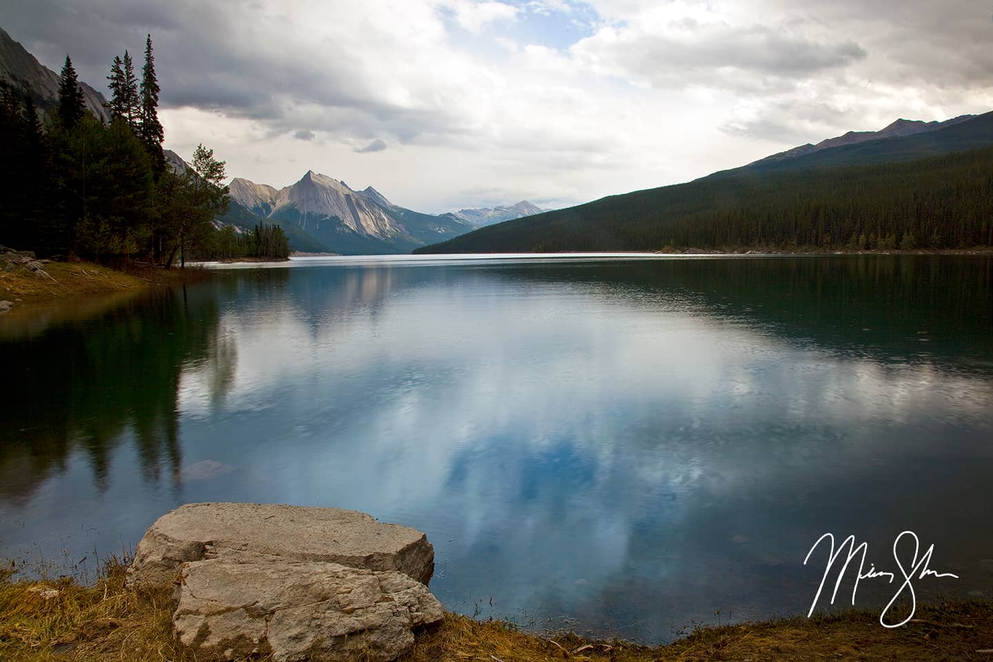 Open edition fine art print of Medicine Lake from Mickey Shannon Photography. Location: Medicine Lake, Jasper National Park, Alberta, Canada