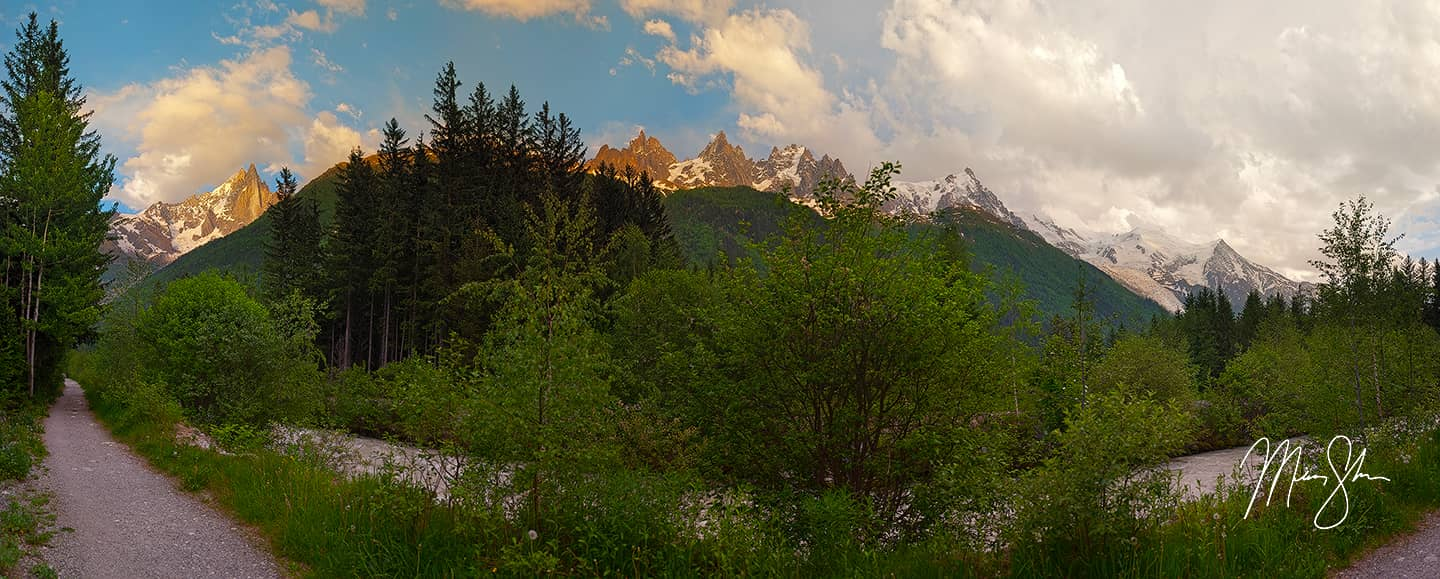 Open edition fine art print of Mont Blanc Massif Panorama from Mickey Shannon Photography. Location: Chamonix-Mont Blanc, France